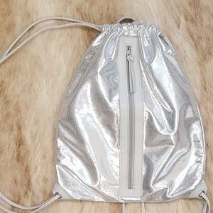 Silver Drawstring Backpack